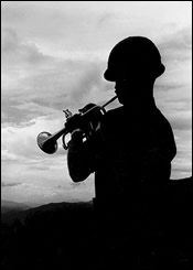 Camp Evans, Vietnam - A Bugler on A Hill